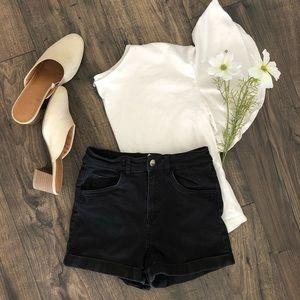 H&M High Waisted Black Denim Jean Shorts Bottoms